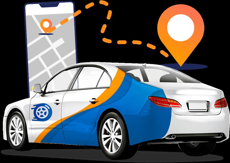 ilustração de um carro e um gps